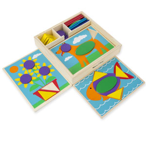 Melissa & Doug Wooden Beginner Pattern Blocks