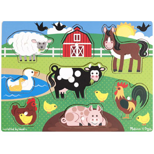 Melissa & Doug Farm Wooden Peg Puzzle, 8-Pcs