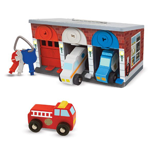 Melissa & Doug Keys & Cars Wooden Rescue Vehicle & Garage