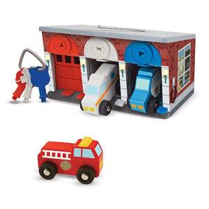 Melissa & Doug Keys & Cars Wooden Rescue Vehicle & Garage