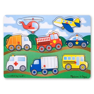 Melissa & Doug Vehicles Wooden Peg Puzzle, 8-Pcs