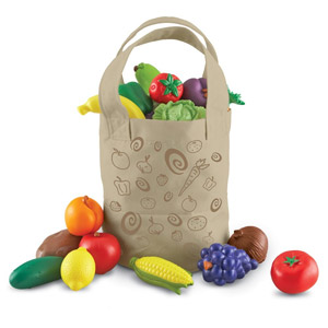 Learning Resources Fresh Picked Fruit And Veggie Tote, 17-Pcs
