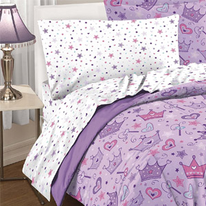 Dream Factory Purple Princess Hearts And Crowns Girls Comforter Set