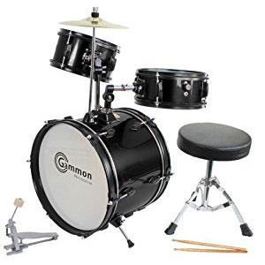 Drum Set Black Complete Junior Kids Childrens Size with Cymbal Stool Sticks
