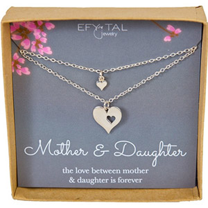 Mother Daughter Cutout Heart Necklaces
