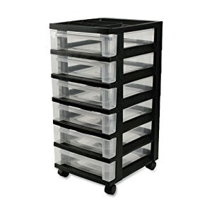 IRIS 6-Drawer Storage Cart with Organizer Top