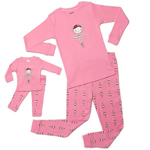"Leveret ""Ballerina"" Matching Girl & Doll 2-Piece Pajama"