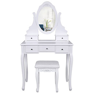 SONGMICS Vanity Set with Mirror and Stool