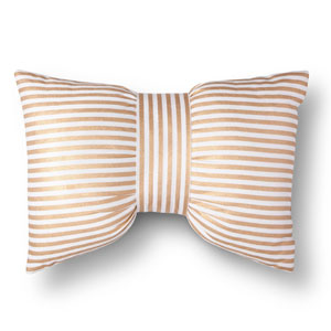Gold & White Metallic Stripe Bow Throw Pillow