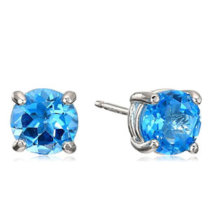 Rhodium Plated Birthstone Stud Earrings