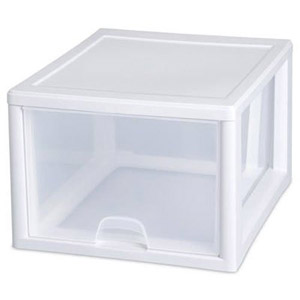 STERILITE 27 Qt/26 L Stacking Drawer, 4-Pack