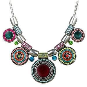 Bohemian Round Pendants Vintage Rhinestone Necklace