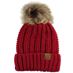 C.C Thick Cable Knit Faux Pom Pom Beanie
