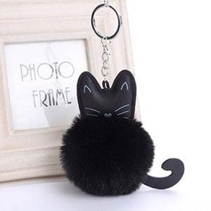Furry Pom Pom Keychain