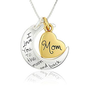 Mom I Love You To The Moon & Back Pendant Necklace
