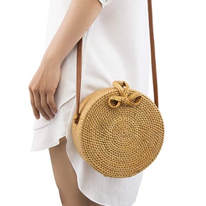 NATURALNEO Round Rattan Bag