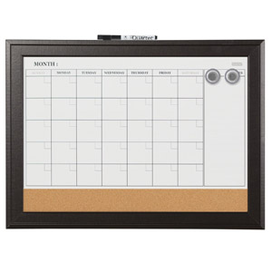 Quartet Magnetic Whiteboard Calendar & Corkboard