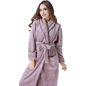 Richie House  Warm Fleece Bathrobe