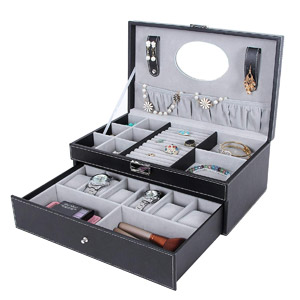 SONGMICS Black Jewelry Box 6 Watch Organizer Storage Case