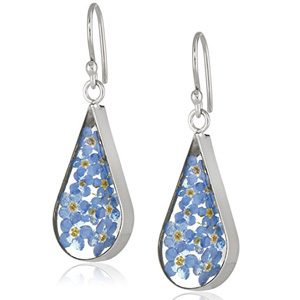 Sterling Silver Blue Pressed Flower Teardrop Earrings