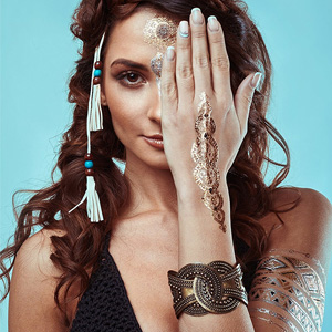 Temporary Boho Metallic Henna Tattoos