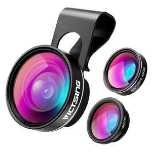 VicTsing 3 in 1 Fisheye Camera Lens, Macro Lens, 0.65X Wide Angle Lens
