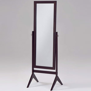 Espresso Wooden Cheval Bedroom Floor Mirror
