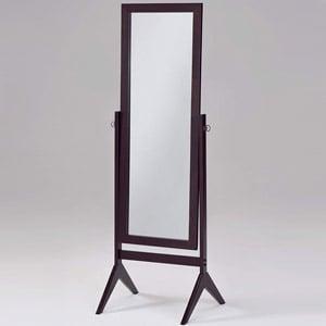 Espresso Wooden Cheval Bedroom Floor Mirror