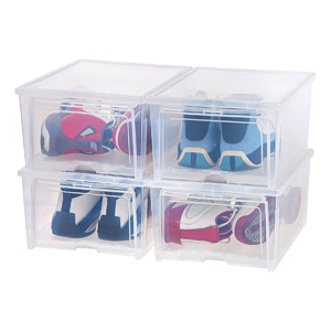 IRIS Easy Access Mens Shoe Box, 4-Pk, Wide, Clear