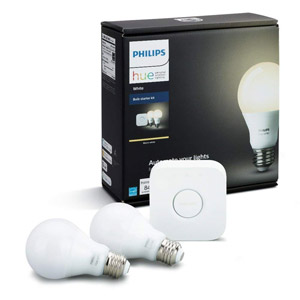Philips Hue White A19 60W Equivalent Dimmable LED Smart Bulb Starter Kit, 2-PK