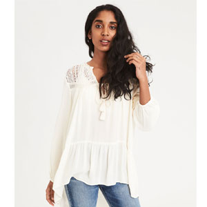 AE LACE INSET LONG SLEEVE TUNIC BLOUSE