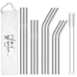 Hiware 12-Pack Stainless Steel Metal Straws