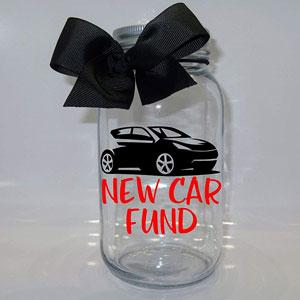 Personalized Car Fund Mason Jar Bank