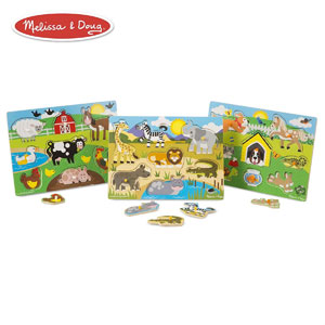 Melissa & Doug Pets World of Animals Wooden Peg Puzzle