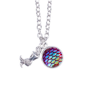 Myhouse Girls Colorful Mermaid Pendant Necklace