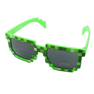 Pixel Kids Sunglasses - Novelty Retro Gamer Geek Glasses