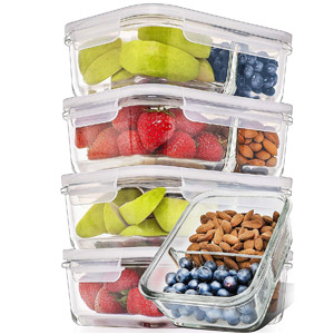 Prep Naturals Glass Bento Box (3 Pack)