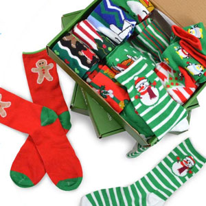 TeeHee Christmas Holiday 12-Pack Gift Socks