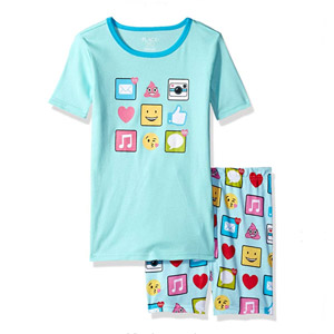 The Childrens Place Girls Short Sleeve Top and Pants Pajama Set
