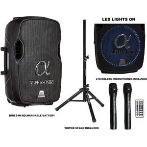"""Alphasonik 15"""" Portable Rechargeable Battery Powered 1500W PRO DJ Amplified Loud Speaker"""