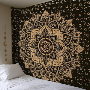 Madhu International Black Gold Mandala Tapestry