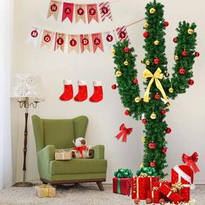 Goplus Pre-Lit Artificial Cactus Christmas Tree
