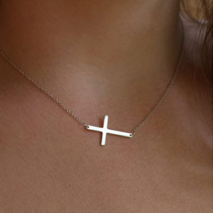 LEMONDROP Silver Sideways Cross Necklace