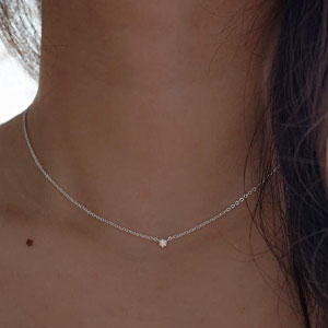 Silver Dainty Diamond Choker Necklace