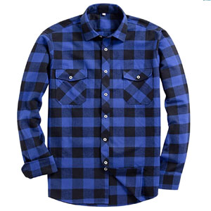 Alimens & Gentle Mens Button Down Regular Fit Long Sleeve Plaid Flannel Casual Shirts