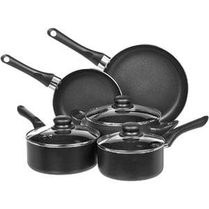 Amazon Basics Non-Stick Cookware Set, 8-Pc Set