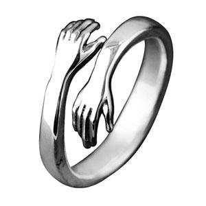 Hugging HandsSterling Silver Ring