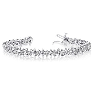 14k White Gold 2 Ct. Diamond XO Tennis Bracelet