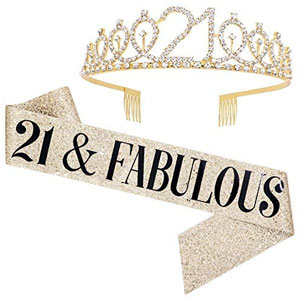 21 & Fabulous Sash & Rhinestone Tiara Set