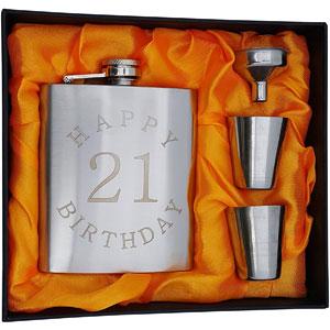 21st Birthday Flask Gift Set